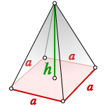 volume regular quadrangular pyramid